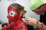 Zombie dancer getting her finishing touches