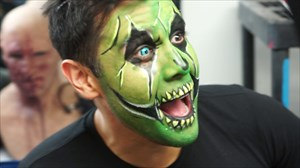 Ruben Galvan from Channel 2 News KPRC dropped by Houston Terror Dome Haunted House to get his face painted.  To complete his transformation he put in some blue color contacts.  This was the first time ever that Ruben had tried contacts.