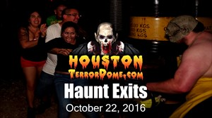 Customer reactions as they come running out the haunt exit, screaming, crying and laughing.
